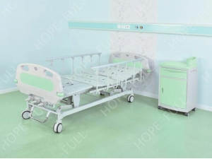 HOPEFULL 3 crank manual ward bed with four silent wheels