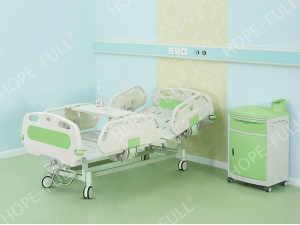 Two functions manual hospital bed with food board